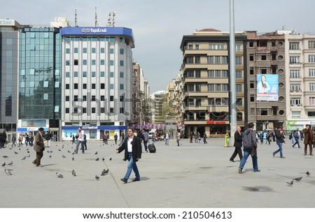 ISTANBUL - MARCH 27: Taksim Square on March 27, 2014 in Istanbul, Turkey. Istanbul is the capital of Turkey and the largest city in Europe, with a population of 14.2 million.  - stock photo