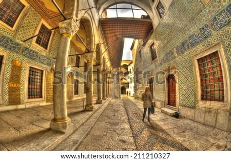 ISTANBUL, MARCH 24: Topkapi Palace Harem on March 25, 2014 in Istanbul, Turkey. Istanbul is the capital of Turkey and the largest city in Europe, with a population of 14.2 million.  - stock photo