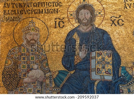 ISTANBUL - MAY 17, 2014 - Christ enthroned, flanked by  Constantine IX Monomachus, husband of Empress Zoe,  Byzantine mosaic in the gallery of  Hagia Sophia  in Istanbul, Turkey - stock photo
