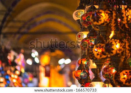 ISTANBUL - NOV, 20: Lamp shop with colorful lanterns in the Grand Bazaar in Istanbul, Nov 20, 2013 in Istanbul, Turkey - stock photo