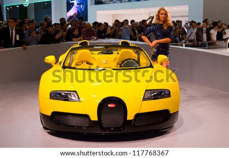 ISTANBUL - NOVEMBER 03: Bugatti Veyron Super Sport EB 16.4 at Istanbul Auto Show 2012 on November 03, 2012 in Istanbul, Turkey. Veyron is the fastest street-legal production car in the world. - stock photo