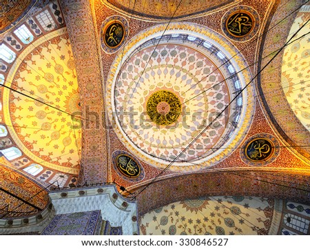 ISTANBUL - November 29: Decoration ornament in New Mosque at Istanbul, Turkey, November 29, 2014 - stock photo