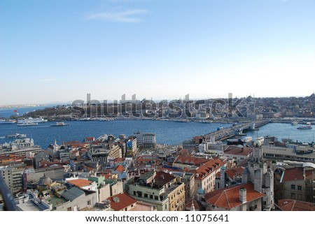 Istanbul panoramic view from Galata tower - stock photo