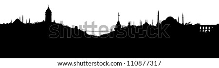 Istanbul skyline silhouette, with all important buildings and attractions of the city - stock photo