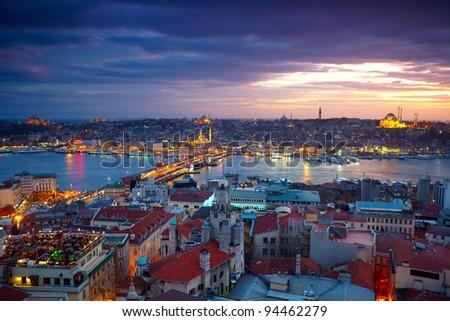 Istanbul Sunset Panorama - stock photo