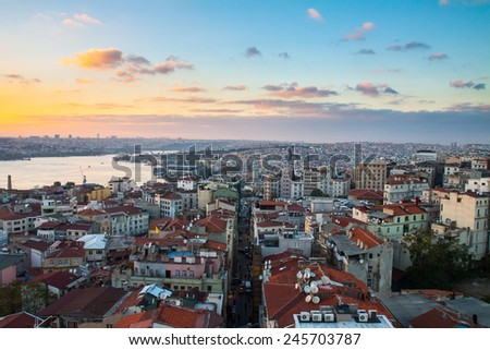 Istanbul, sunset view from Galata tower to city district - stock photo