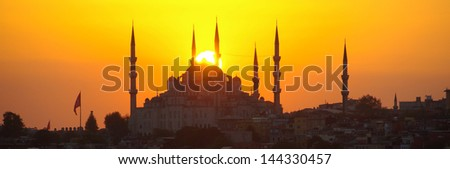 Istanbul sunset view of the Sultan Ahmet Mosque or Blue Mosque - stock photo