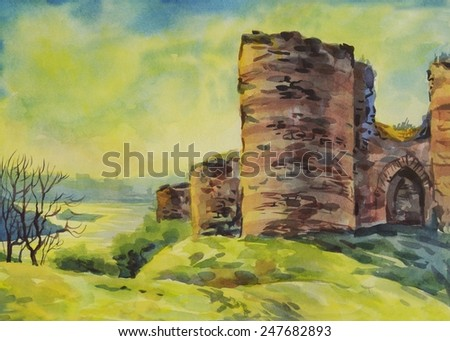 Istanbul. The fortress. Watercolor - stock photo