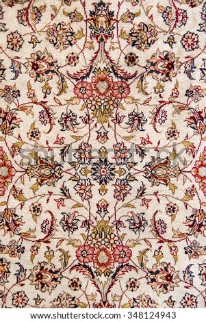 ISTANBUL, TURKEY - 29 APRIL, 2015: Detail of an orient carpet on Grand Bazar - stock photo