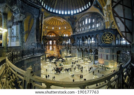 ISTANBUL, TURKEY - APRIL 2, 2011: Interior of Hagia Sophia. From the date of its construction in 537 until 1453, it served as an Eastern Orthodox cathedral. It was a mosque from 1453 until 1931. - stock photo