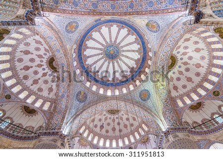 ISTANBUL,TURKEY - APRIL 08, 2015:Interior of the Blue mosque on April 08, 2015 in Istanbul. It was built from 1609 to 1616, during the rule of Sultan Ahmed I. - stock photo