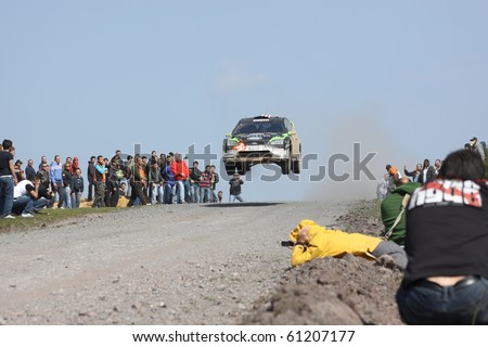 ISTANBUL, TURKEY - APRIL 18: Ken Block drives a Monster World Rally Team Ford Focus RS WRC 08 car during Rally of Turkey 2010 WRC championship, Ballica Stage on April 18, 2010 in Istanbul, Turkey - stock photo