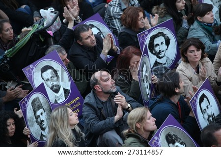ISTANBUL, TURKEY - APRIL 24, 2015: People gather to commemorate the Armenians who lost their lives in massacres that took place 100 years ago in 1915 on Ottoman soil - stock photo