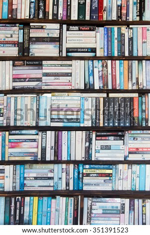 ISTANBUL, TURKEY - 29 APRIL, 2015: Shelves of books in the bookstore - stock photo
