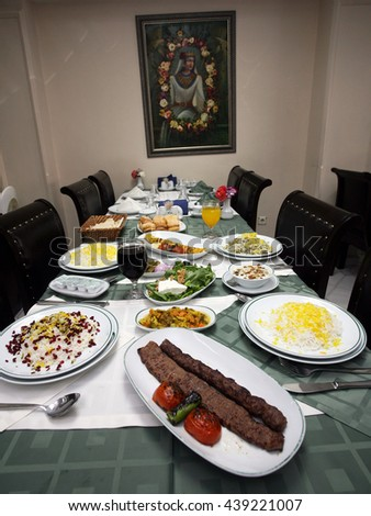 ISTANBUL, TURKEY - APRIL 1: Traditional Iranian foods on the restaurant table in the famous Iranian restaurant 'Asuman' on April 1, 2010 in Istanbul, Turkey. - stock photo