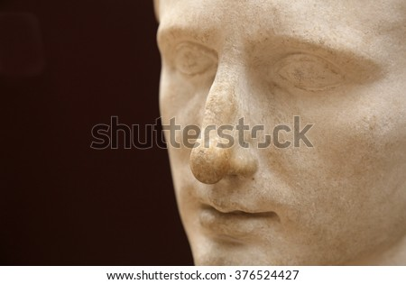 ISTANBUL, TURKEY - AUGUST 09, 2015: Istanbul Archaeological Museum - A bust of Emperor Augustus from Pergamum, dating from his reign.  - stock photo