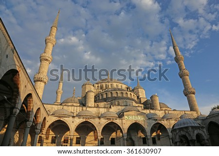 ISTANBUL, TURKEY - AUGUST 07, 2015: The Blue Mosque, shot from the courtyard.  Located in Istanbul, Turkey.  It was completed in 1616 by Sultan Ahmed I.  - stock photo