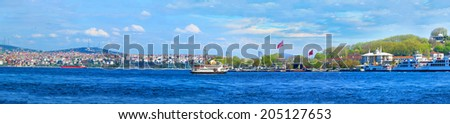 ISTANBUL, TURKEY -- CIRCA APRIL 2014: Vview of Istanbul from the Galata Bridge - stock photo