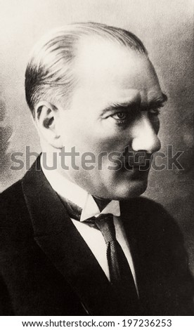 ISTANBUL-TURKEY - CIRCA 1920's :Mustafa Kemal Ataturk founder Turkish Republic .Circa 1920's  - stock photo