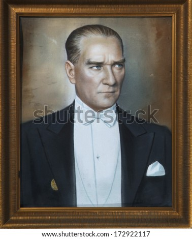 ISTANBUL-TURKEY - Circa 1930's :Mustafa Kemal Ataturk who founded Turkish Republic .Circa 1930's  - stock photo