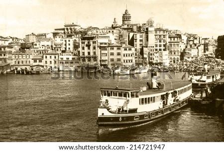 ISTANBUL, TURKEY - CIRCA 1900's :Vintage cityscape of Istanbul,Old Eminonu District.Turkey, circa 1900s.  - stock photo