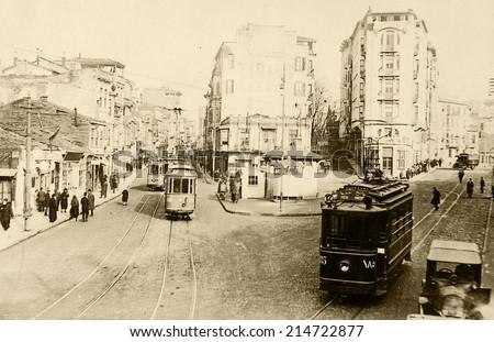 ISTANBUL, TURKEY - CIRCA 1900's :Vintage cityscape of Istanbul.Old Harbiye District.Turkey, circa 1900s.  - stock photo