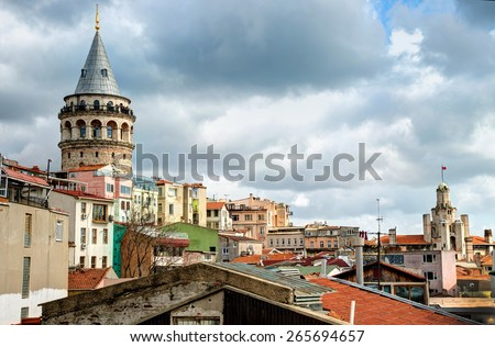 istanbul, Turkey: City view with Galata Tower. - stock photo