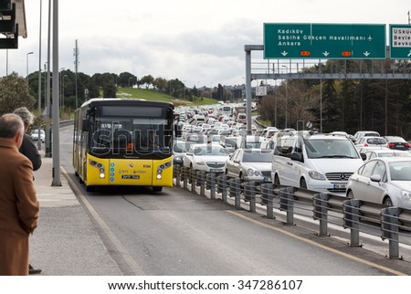 ISTANBUL TURKEY - DECEMBER 3, 2015 : Bosphorus bridge and Metrobus - stock photo
