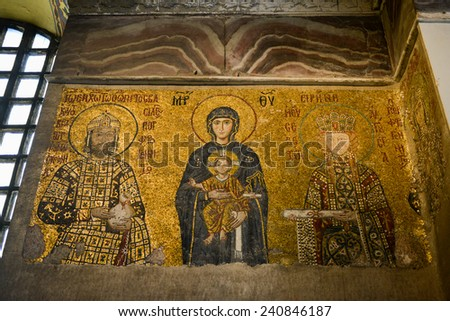 ISTANBUL, TURKEY - DECEMBER 2, 2014: Madonna and Jesus Christ, a Byzantine mosaic in the interior of Hagia Sophia in Istanbul. - stock photo