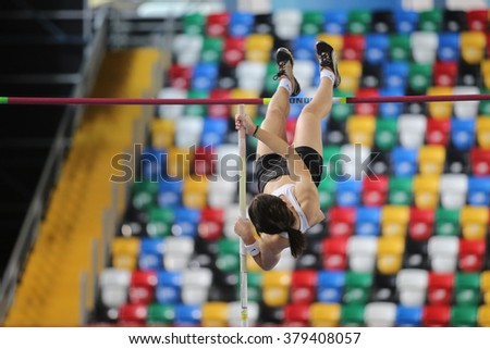 ISTANBUL, TURKEY - FEBRUARY 20, 2016: Athlete Merve Baskaya pole vaulting during Turkcell Turkish Indoor Athletics Championships - stock photo