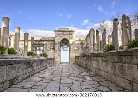 ISTANBUL, TURKEY - FEBRUARY 07: Gravestones in the graveyard of Suleymaniye Mosque, 07 February 2016 in Istanbul Turkey Suleymaniye cemetery Suleiman the Magnificent is a cemetery where the tomb - stock photo