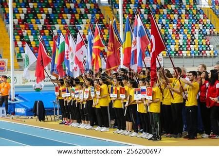 ISTANBUL, TURKEY - FEBRUARY 21, 2015: Opening ceremony of Balkan Athletics Indoor Championships in Asli Cakir Alptekin Athletics hall. - stock photo
