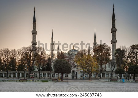 Istanbul.Turkey. Hippodrome. Blue Mosque (Sultan Ahmet Camii Mosque) in the Sultanahmet area of Istanbul in Turkey. - stock photo