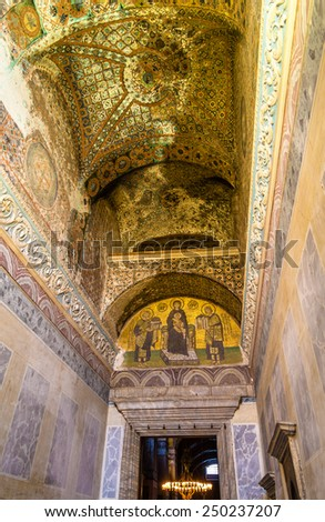 ISTANBUL, TURKEY - JANUARY 6: Interior of Hagia Sophia museum on January 6, 2015 in Istanbul, Turkey. Hagia Sophia was built in 537 as Eastern Orthodox cathedral  - stock photo