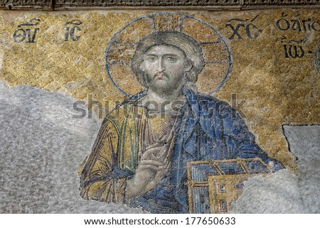 ISTANBUL, TURKEY - JANUARY 4: Jesus Christ, a Byzantine mosaic in the interior of Hagia Sophia, on January 4, 2014 in Istanbul. - stock photo