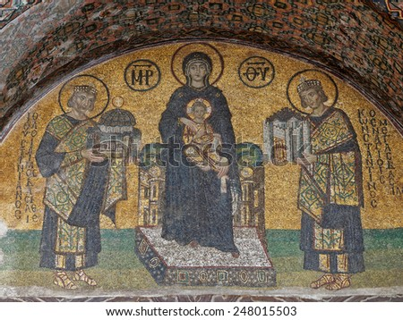 ISTANBUL, TURKEY - JANUARY 23: Mosaic of Virgin Mary inside the Hagia Sophia on January 23, 2015 in Istanbul, Turkey. Hagia Sophia is a former Orthodox basilica, later a mosque and now a museum.     - stock photo