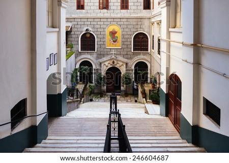 ISTANBUL, TURKEY - JANUARY 20,2015:Saint Mary Draperis  is a Roman Catholic Church in Istanbul on JANUARY 20,2015 in Istanbul, Turkey.Established in 1584 - stock photo
