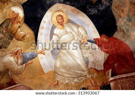 Istanbul, Turkey - July 6, 2015: Beautiful ancient Byzantium mosaic fresco in Kariye Mosque, Istanbul, Turkey - stock photo