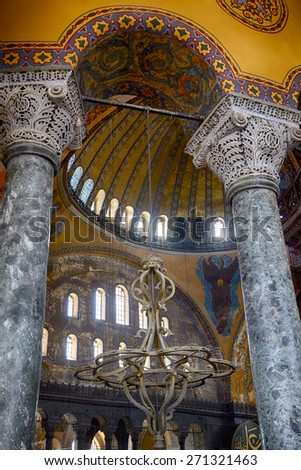 ISTANBUL, TURKEY - JULY 9, 2014: The Interior of the Upper Gallery in Hagia Sophia with green marble columns Istanbul, Turkey - stock photo