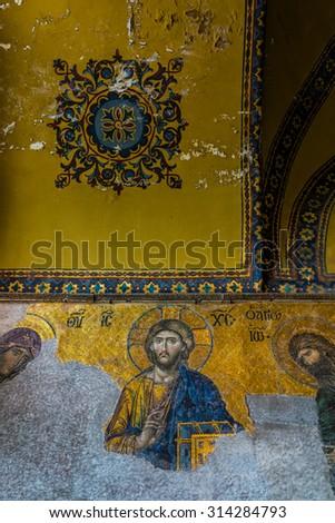 ISTANBUL, TURKEY - JUNE 23: Mosaic Image of Jesus Christ at Hagia Sophia on June 23, 2015 in Istanbul, Turkey - stock photo