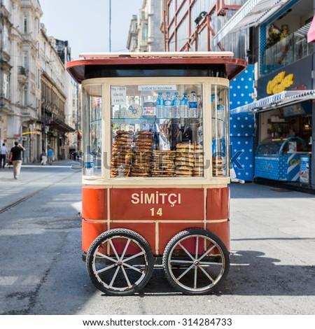 ISTANBUL, TURKEY - JUNE 20: Simit cart on June 20, 2015 in Istanbul, Turkey - stock photo