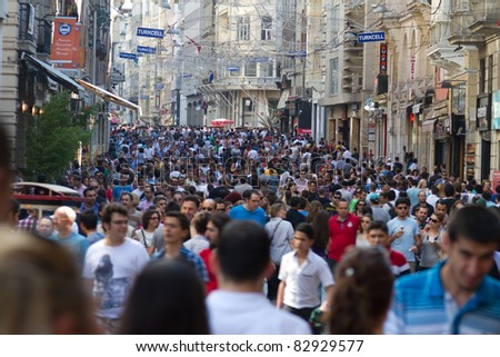 ISTANBUL, TURKEY - JUNE 18 : Taksim Istiklal Street on June 18, 2011 in Istanbul, Turkey. Taksim Istiklal Street is tourists popular destination in Istanbul. - stock photo