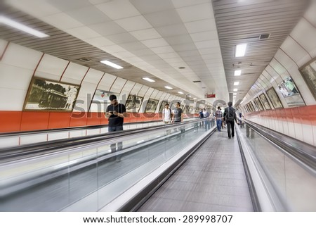 ISTANBUL, TURKEY, JUNE 23, 2015: The Istanbul Metro is a rapid transit underground railway network that serves the city of Istanbul, Turkey. - stock photo