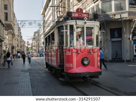 ISTANBUL, TURKEY - JUNE 20: The Taksim Tunel Nostalgia Tram on June 20, 2015 in Istanbul, Turkey - stock photo