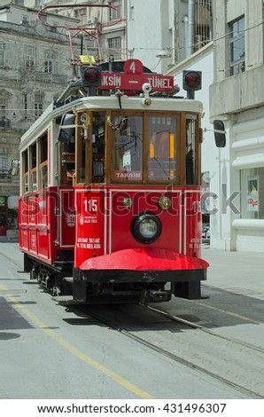 ISTANBUL, TURKEY - JUNE 3, 2016:  View of one of the tram cars operating on the Nostalgia Tram route across the fashionable Beyog?lu district of Istanbul, Turkey. - stock photo