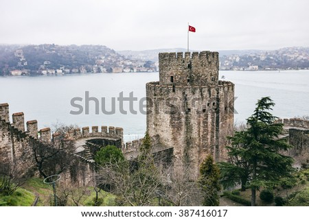 ISTANBUL, TURKEY - MARCH 20, 2011: Roumeli Hissar Castle fortress in European part of Istanbul, Turkey - stock photo