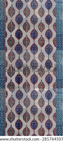 ISTANBUL, TURKEY  - MAY 18, 2014 - Intricate Iznik mosaic tile work  for the tomb of Selim II,  in Istanbul, Turkey - stock photo