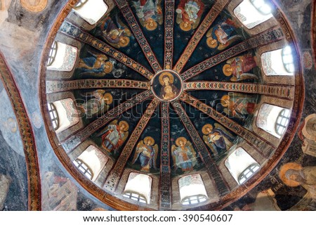 ISTANBUL, TURKEY - MAY 15, 2014 - Theotokos, Mother of God, surrounded by angels,  mosaic, north dome of Inner Narthex, Chora Church (Kariye Museum) in Istanbul, Turkey - stock photo