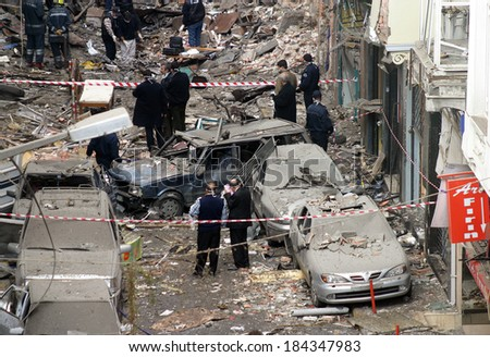 ISTANBUL, TURKEY - NOVEMBER 15: After terror attack and bomb explosion in Neve Shalom synagogues on November 15, 2003 in Istanbul, Turkey. Killing 27 people in the synagogues. - stock photo