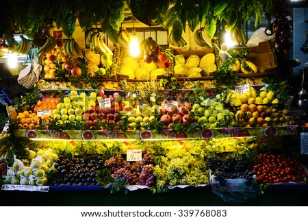 ISTANBUL,TURKEY, NOVEMBER 13, 2015:Fruit and vegetable store in Galata District - stock photo